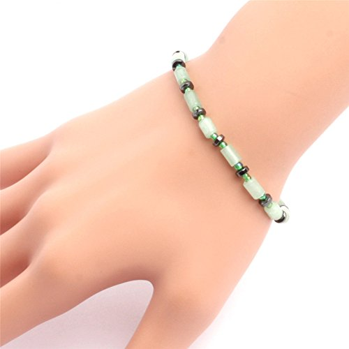 GEM-inside Bracelets Column Aventurine Jade Hematite Spacer Beads Stretchy Rope Handmade 7.5 Inches Fashion - Column Rope