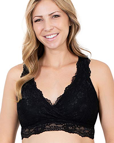 (Kindred Bravely Lace Nursing Bralette | Wireless Crossover Bra for Breastfeeding (Black, Large))
