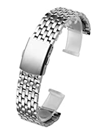 Top Plaza 22mm Stainless Steel Link Bracelet Wrist Watch Band Strap Replacement Single Fold Over Clasp 7 Rows Metal Strap