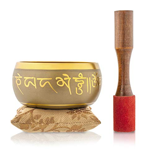 Tibetan Singing Bowl – Hand Crafted Chakra Singing Bowl Set with Mallet & Cushion – Brass 4″ Sound Therapy Bowl for Meditation & Yoga – Five Buddha Prayer Bowl with Deep Sound by Bim-Bam-Bom