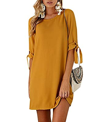 YOINS Summer Dresses for Women Long Sleeves T Shirt Solid Crew Neck Tunics Self-tie Blouse Mini Dresses