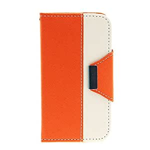 ZXC Joint Color Pattern PU Leather Face and Palstic Hard Back Full Body Case for Samsung Galaxy S4 I9500 , Orange