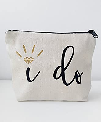 Bridal Shower Gift Bride Gift I Do Canvas Makeup Bag Gold Make Up Pouch Cosmetic Pouch Cosmetic Bag Makeup Organizer Bride To Be Gift I Do Wedding Vows