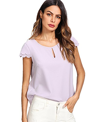 Romwe Women's Knot Front Cap Short Sleeve Summer Chiffon Blouse Top Lavender - Bishop Lavender