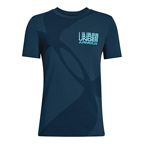 Under Armour Boys Mega Duo Logo Short sleeve Tee, Techno Teal (489)/Deceit, Youth X-Large
