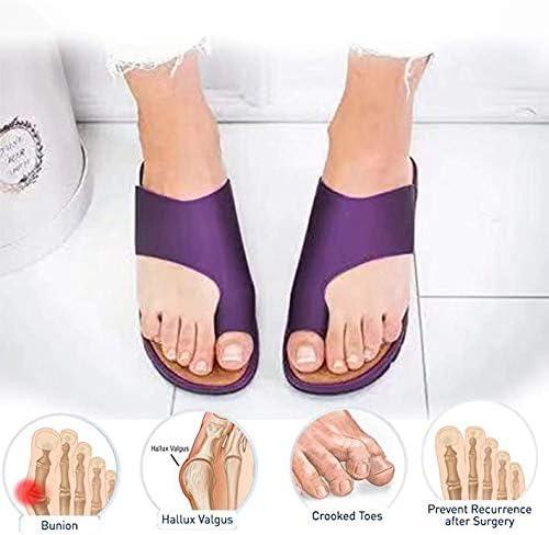 KT Mall 2020 Nuevas Mujeres cómodas Sandalias de Plataforma Zapatos ortopédicos Verano Punta Plana Post juanete Zapatillas de Viaje correctivas de Playa para Novias Regalos de Madre,Púrpura,8 UK