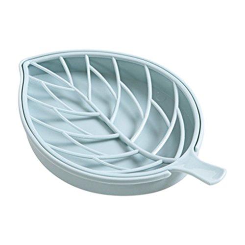 BESTOMZ Leaf shaped Soap Dish Holder Plastic Soap Tray for Bathroom (Sky-blue)