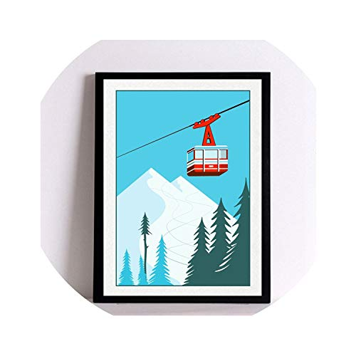 three thousand Unframed Vintage Winter Sports Decoration Poster Ski Art Print Poster Wall Pictures Skiing Picture Canvas Painting Retro Home,20x25cm not Framed,Red