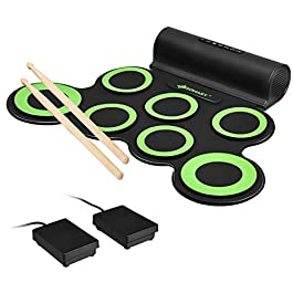 Costzon 7 Pads Electronic Drum Set, Portable Roll up MIDI Drum Practice Pad w/Headphone, 5 Tones, 8 Demos, Built-in…