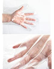 Chahua Disposable Transparent Clear Plastic Gloves, Polyethylene (PE) Work Gloves for Cooking,Cleaning, Food Grade PE, Food Prep Gloves (100)