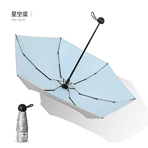 Folding Umbrella Mini Titanium Silver Umbrella Five Fold Umbrella Folding Dual-Use Umbrella Umbrella Sunscreen Female,Star Blue,Silver Glue 6K