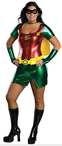 Batman Secret Wishes Robin Costume Dress, Red/Green, Plus -