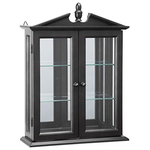 Carved Doors Glass (Design Toscano BN17222 Amesbury Manor Wall Curio Cabinet, Ebony Black)