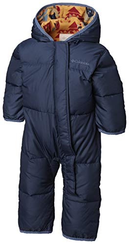 Columbia Unisex Baby Snuggly Bunny Insulated Water-Resistant Bunting, Collegiate Navy/Canyon Gold Critter, 12-18 Months