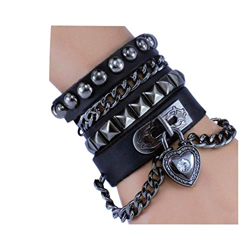 Woven Design Bracelet - Y-blue Multilayer Bracelet Fashion Punk Leather Woven Braided Cross Bangle Wrist Cuff Wristband (Black - Love Heart)
