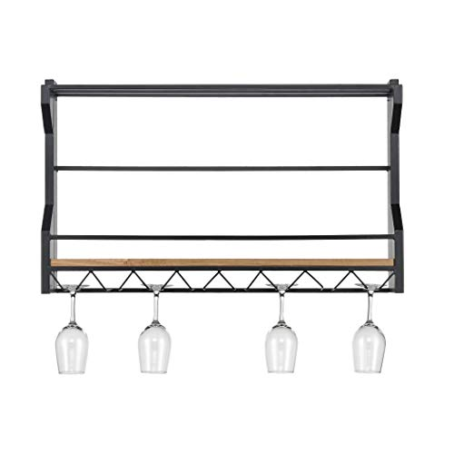 Sterling Home 3187-011 Wavertree Hanging Black and Natural Fir Wood Wine Rack,