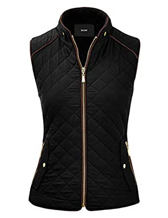 FASHION BOOMY Women's Quilted Padding Vest - Lightweight Zip Up Jacket - Regular and Plus Sizes Small V-Black
