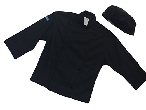 CHEFSKIN CHILDREN CHEF JACKET in BLACK for Kids (REG (6-8 Yrs))