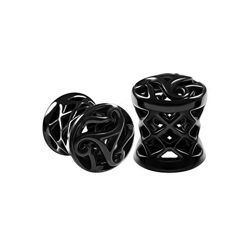 BIG GAUGES Pair of Blackline Alloy 0g Gauge 8mm Double Flared Saddle Piercing Jewelry Earring Stretcher Ear Plugs Flesh Tunnel BG6123
