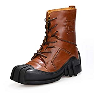 NSST Men's Martin Boots Genuine Leather Handmade Waterproof Uniform Boots Skull Punk Motorcycle Booties Steampunk Shoes Leather Boots (Large Size)