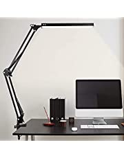 LED Desk Lamp, Metal Swing Arm Lamp with Clamp, Dimmable Eye-Caring Architect Desk Light, 3 Color Modes 10 Brightness Levels, Memory Function Desk Lamps for Home Office, ( Black )