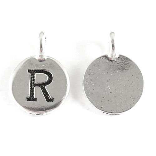 TierraCast Pewter Initial Charms-SILVER ROUND LETTER