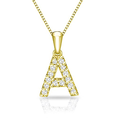 Diamond Wish 14k Yellow Gold Letter A Diamond Initial Pendant Necklace (1/10cttw) 18-inch Box Chain