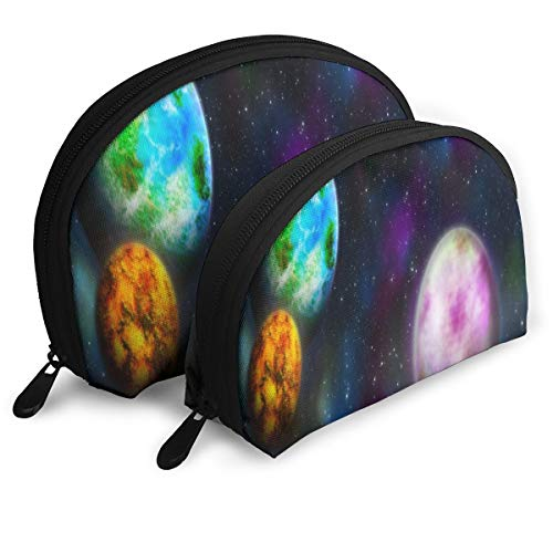 Makeup Bag Wallpaper Space Planet Star Galaxy Portable Shell Pouch For Girlfriend Party 2 Pack