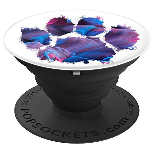 Colorful Dog Pawprint Purple Watercolor Dog Love Animal Gift - PopSockets Grip and Stand for Phones and Tablets