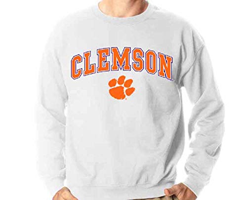Campus Colors Clemson Tigers Arch & Logo Gameday Crewneck Sweatshirt - White, Large