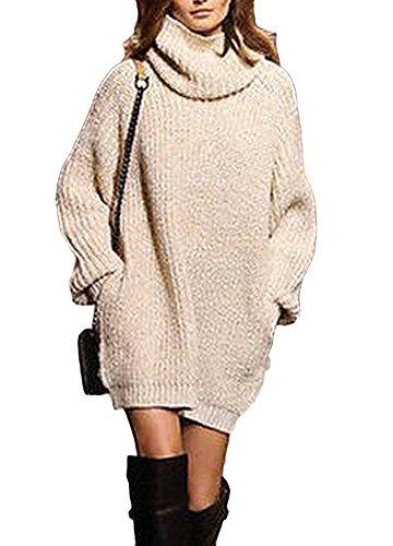 Romacci Women Warm Oversize Turtleneck Sweater Long Sleeve Pockets Casual Rib Knitted Jumper Mini Dress