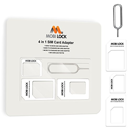 Mobi Lock 4 in 1 Sim Card Adapter (Micro, Nano and Standard Sim) for iPhone X, 8 Plus, 8, 7 Plus, 7 and All iPhone Series, Samsung, HTC, Google Phones and all Other Android and Smartphone Devices from Mobi LockTM