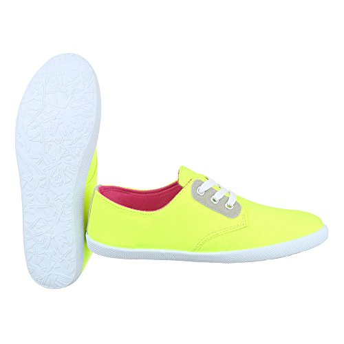 Ital-Design Low-Top Sneaker Damenschuhe Low-Top Schnürer Freizeitschuhe Neongelb