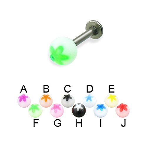 MsPiercing Titanium Labret With Acrylic Flower Ball, 14 Ga, Ball Size:1/4
