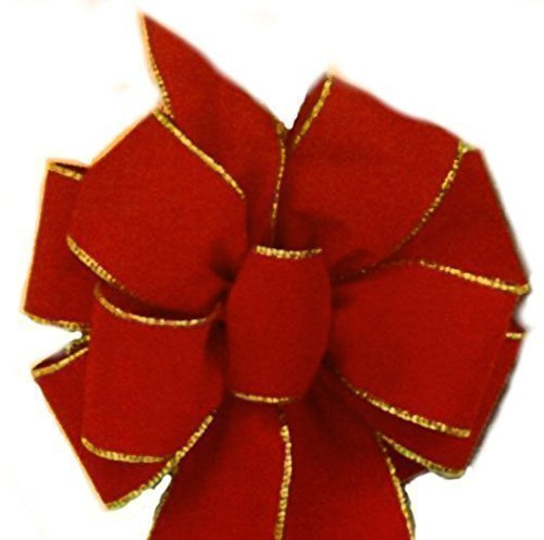 12 Red Gold Wire Bows ($7.50 each) FREE SHIPPING Red Velvet Gold Wired Edge Christmas Bow 10