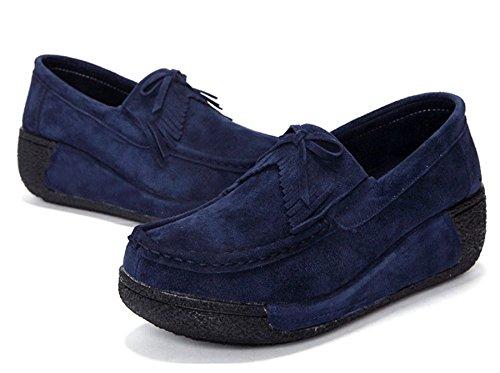 Epais Confortable Suède Chaussure Femme foncé Automne Glands Pente bleu Hiver plateforme à Chaussure Chaussure en avec JRenok lacets la Compensée Chaussure Chaussure et Semelle en Btqwd5dEx