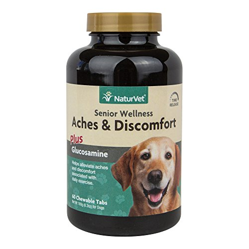 NaturVet Senior Wellness Aches & Discomfort Plus Glucosamine for Dogs, 60 ct Time Release, Chewable Tablets, Made in USA ()