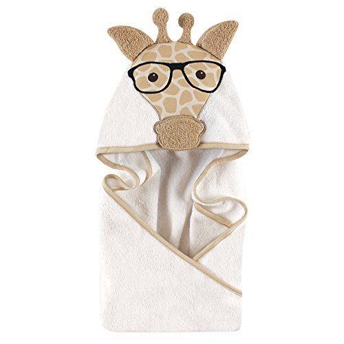 Hudson Baby Animal Face Hooded Towel, Nerdy Giraffe