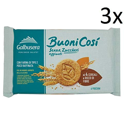 3X Galbusera Buoni così Biscuits to The 4 Cereals Snack 300g