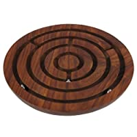 ShalinIndia Handcrafted Indian Wooden Labyrinth Ball Maze Puzzle Game & Decoration
