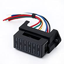 Docooler 6 Way DC32V Circuit Car Trailer Auto Blade Fuse Box Block Holder Inline ATC ATO 2-input 6-ouput Wire for Bus Ship Tanker Trailer Car Coat