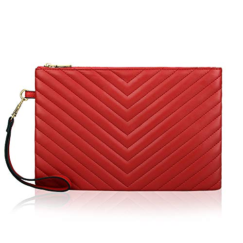 AUSTRY Oversized Envelope Clutch for Women Leather Designer Clutch Bag with Card Slots Quilted Handbag Purse