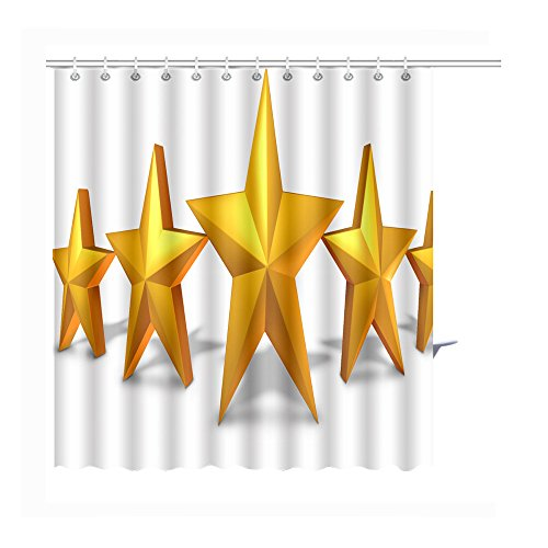 MuaToo Shower Curtain gold star rating with five golden stars representing an award of excellence and luxury as a symbol Graphic Print Polyester Fabric Bathroom Decor Sets with Hooks 72 (2125 Bluetooth)