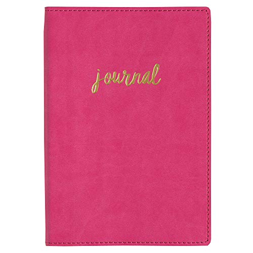 (C.R. Gibson Hot Pink and Gold 'Journal' Faux Leather Journal and Notebook, 160 Pages, 5.5'' W x 8.16 '' H)