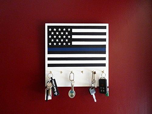 Thin Blue Line American Flag Key Holder and/or Dog Leash Hol