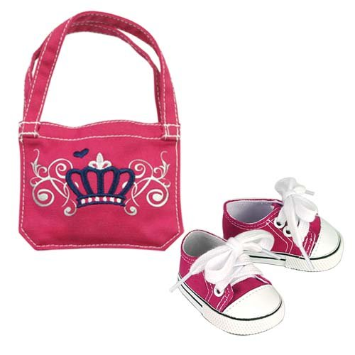 18 Inch Doll Set, Hot Pink Canvas Sneakers and School Bag Perfect for American Girl Dolls and More, Doll Accessory Set of Sneakers and School Bag, Baby & Kids Zone
