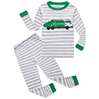 Family Feeling Garbage Truck Little Boys Long Sleeve Pajamas 100% Cotton Pjs Sleepwears Size 6