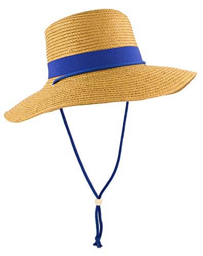 Straw Bolero Gaucho Gambler Sun Hat with Floppy Brim, Matching Hatband and Chin Strap, UV Protection (Blue)
