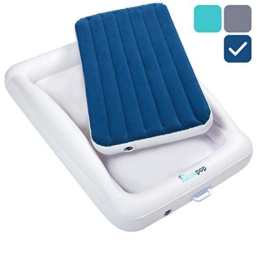hiccapop Inflatable Toddler Travel Bed with Safety Bumpers   Portable Blow Up Mattress for Kids with Built in Bed Rail - Navy Blue 1