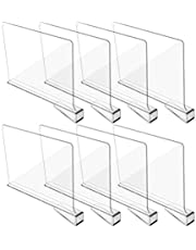 Hmdivor Clear Acrylic Shelf Dividers, Closets Shelf and Closet Separator for for Organization in Bedroom, Kitchen and Office Shelves (8 Pack)